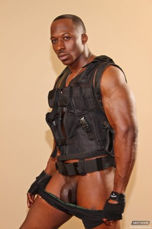 Kinky gay with a bulletproof vest Derek Jackson strips and teases with his BBC