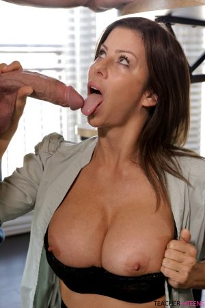 Horny brunette cougar Alexis Fawx reveals her fakes & fucks her daughter's boy