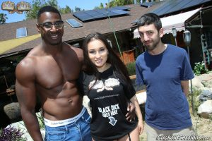 Hot wife with dark hair gets ass fucked by a black man in front of her cuckold
