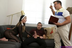 Teenage nun Kenzie Madison getting screwed doggystyle by her stepbrother