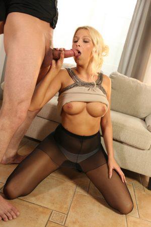 Natural blonde Karol Lilien slides her panties aside before a hard fuck
