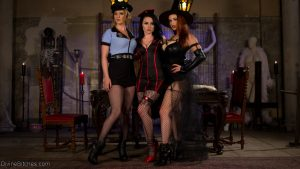 Slim mistresses tease their male subs with arousing upskirts in kinky outfits