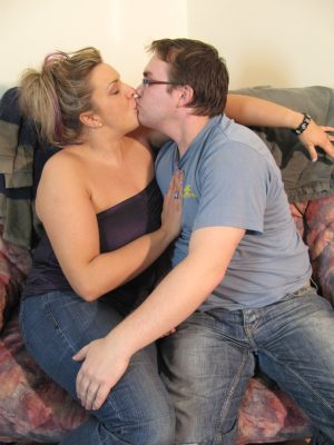 Chubby neighbor with big tits gets her twat filled by a horny guy