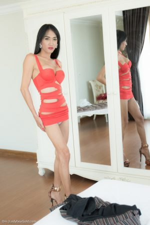 Long legged ladyboy Om jerking off and toying her tight asshole