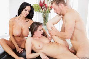 Sexy Ava Addams with huge tits cum swapping with masseuse Casey Calvert