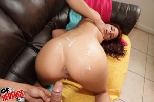 Admirable redhead sweetie gets shagged and jizzed over her sexy fanny