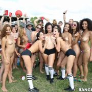 A bunch of sexy girls strip on the field and show off their incredible bodies