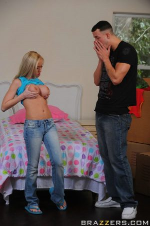 Petite blonde Madison Scot sits on a monster white dick and rides it
