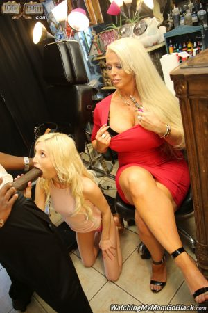 Blonde mom and daughter duo suck a BBC and do hardcore anal together