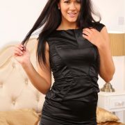 Salacious black haired wife Felicity Hill doffs black dress to pose in nylons