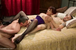 Hot wife in hot lingerie Mz Berlin rides a dick while her tied hubby watches