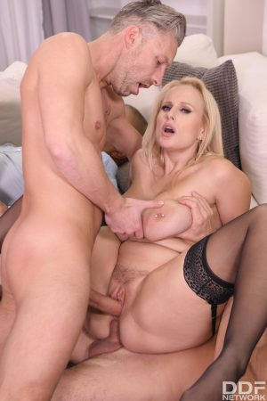 Huge boobed pornstars Sophie Anderson and Angel Wicky get double penetrated