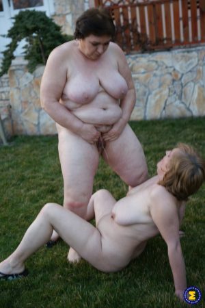 Mature grannies get nasty with younger hunks and piss on each other outdoors