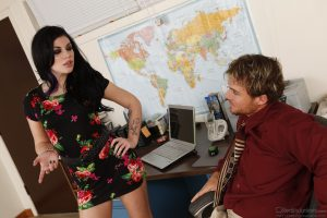 Brunette babe with medium tits Andy San Dimas gets fucked in the office