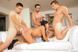 Hot Latina MILF Danica Dillon bangs three boys from the neighbour at once