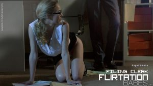 Cute blonde Angel Smalls wearing glasses and heels in hot office fuck
