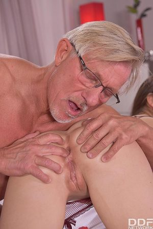 Beautiful girl Rebecca Volpetti has her ass licked and banged by an old man
