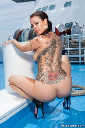Natural titted babe Sophia Santi shows her back tattoo & gets rammed on a boat