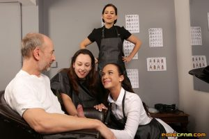 Horny hairdresser Abigail Angel and her two apprentices please an old guy
