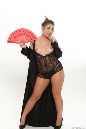 Fatty Asian girl in black lace lingerie undressing to fan her sexy bare ass