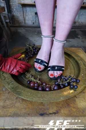 Blue haired dominatrix rope ties & ball gags female sub for foot fetish fun