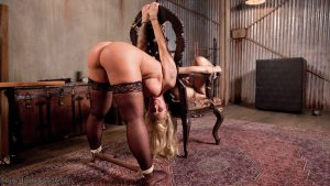 Tattooed cougar Ryan Conner and blonde beauty Goldie Rush get abused by a dom