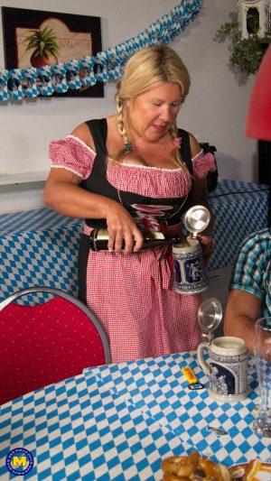 Mature Dutch waitress Kim Van gets screwed by a fat drunk customer