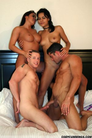 Lesbian MILF Rubi Knox & her GF having a bisexual foursome with a gay couple