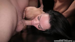 Brunette bitch Angela C fucked and creampied in hot gangbang gallery