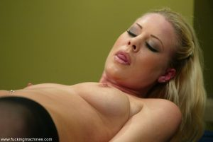 TIny titted blonde mom in stockings Bella Starr gets toyed by a sex machine