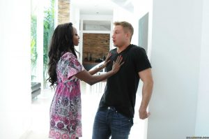 Busty ebony cougar Diamond Jackson gets spooned by her young white neighbor