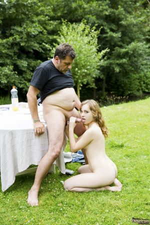 Young French beauty pleasures her sugar daddy with PTM sex in the backyard