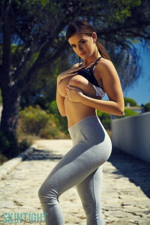 Fitness girl Brook Wright flashes her thong clad ass & gets topless outdoors