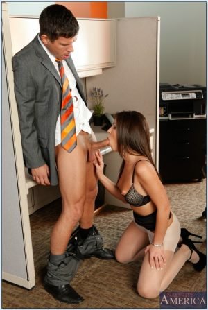 Sexy brunette Ashley Fires gets fucked hard in the office for being late
