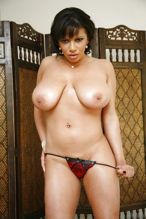 Big tit brunette undresses her red lingerie to whot that ebony ass