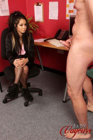 Hot brunette office girl Jasmine Lace strips to stockings for an older voyeur