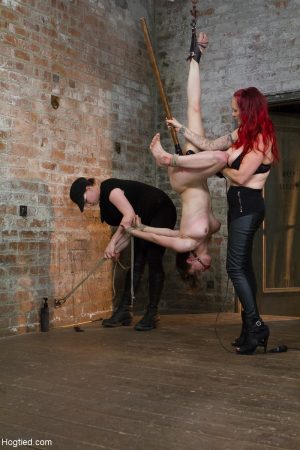 Young brunette babe Iona Grace gets abused by redheaded domme Mz Berlin