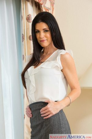 Skinny mature India Summer strips to lacy stockings and teases with her twat