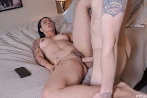 Sweet Asian babe with small tits Dana Vespoli gives head and rides a dick
