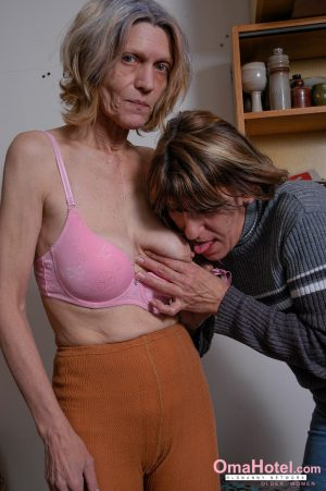 Granny lesbians Mila & Centa kissing & toying each other's horny pussy