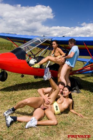 Asian pornstars Priva and Jade Sin take part in a 4some by an ultralight plane