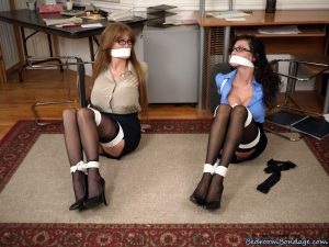Clothed office workers Ariella Ferrera & Darla Crane expose tits while tied up