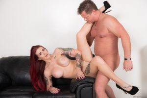 Redhead office worker Tana Lea fucks her coworker while the company goes under