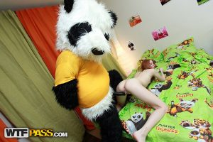 Cute redhead Ivy sports a creampie pussy after fucking a Panda