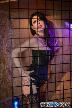 Mature brunette Jessica Jaymes posing in leather corset and nylon stockings