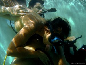 Asian scuba diver gives a BJ underwater before fucking beside pool