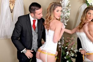 Busty bride Kayla Paige screws the owner of the wedding gown shop