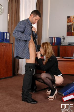 Hot secretary Kandall N gets spanked and ass fucked by her crazy boss