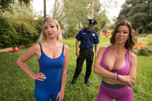 Big boobed cougar Alexis Fawx seduces and fucks a Spanish boy in the park