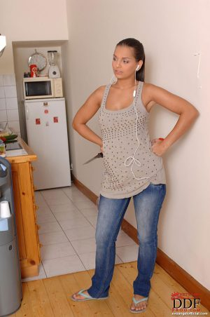 European pornstar Eve Angel flashing all natural tits in jeans